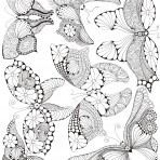 D129.1BL Outline butterflies – Black (A4)
