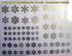 D108.221GL Snowflakes A5 – Green-Gold twinkle/Glass