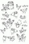 D90.5 Soft line drawings (A4) – hens & cockerels