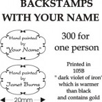 BS300-1 300 backstamps for one person