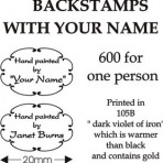 BS600-1 600 backstamps for one person