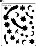 D53G 21 moon & stars – gold (8 x 7cm sheet)