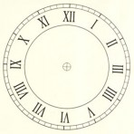 "D6.2BR Roman clock face 7"" – sepia"