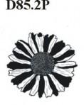"""D85.2P 2"""" flower head – white velvet + gold decals"""