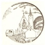 "D9A.1 Wedding plate – church 5.25"" – sepia"