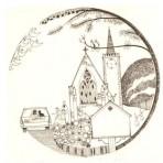 """D9A.1 Wedding plate – church 5.25"""" – sepia"""