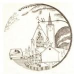 """D9A.2 Wedding plate – church 7"""" – sepia"""
