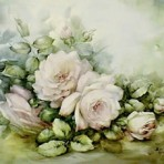 SA1 Pale pink roses on table